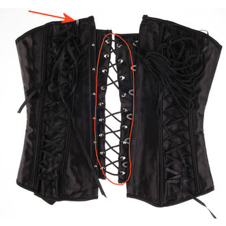 corset femei HEARTS AND ROSES - Black Satin - DETERIORATĂ, HEARTS AND ROSES